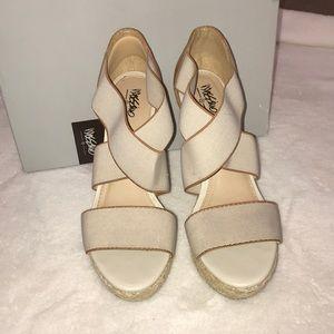 Taupe tan wedge sandals crisscross straps sz 8